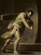 Old Testament Paintings - Samson in the treadmill by Giacomo Zampa