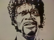 Samuel Drawings Framed Prints - Samuel L Jackson Framed Print by Cory Rootes