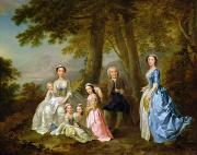 Portraits Tapestries Textiles - Samuel Richardson seated with his family by Francis Hayman