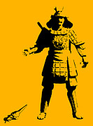 Stencil Digital Art Posters - Samurai fail Poster by Pixel Chimp