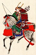 Horse Drawings Photo Prints - Samurai on Horseback 1878 Print by Padre Art