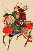 Helmet Posters - Samurai On Horseback Poster by Pg Reproductions