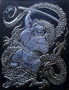 Featured Reliefs Originals - Samurai vs Dragon by Cacaio Tavares