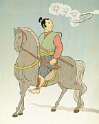 Sword Cartoon Prints - Samurai warrior riding horse Print by Aloysius Patrimonio