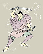 Sword Cartoon Metal Prints - Samurai warrior with katana sword  Metal Print by Aloysius Patrimonio