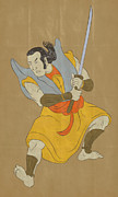 Sword Cartoon Metal Prints - Samurai warrior with katana sword fighting stance Metal Print by Aloysius Patrimonio