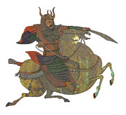 Japanese Fighter Posters - Samurai warrior with sword riding horse Poster by Aloysius Patrimonio