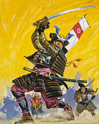 Ferocious Posters - Samurai Warriors Poster by English School