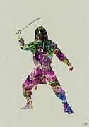 Costume Metal Prints - Samurai with a sword Metal Print by Irina  March