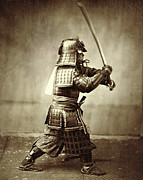 Helmet  Photo Prints - Samurai with raised sword Print by F Beato
