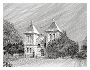 Churches Drawings - San Albino Catholic Church by Jack Pumphrey
