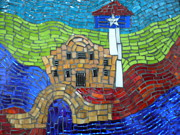 Red Glass Art Originals - San Antonio  by Ann Salas
