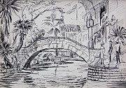 Water Town Drawings - San Antonio River Bridge by Bill Joseph  Markowski