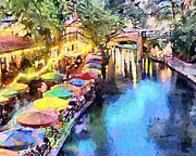 Cafes Prints - San Antonio River Walk Print by Anthony Caruso