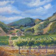 Wine Vineyard Pastels Posters - San Antonio Vineyard Poster by Heather Coen