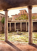 Antiques Paintings - San Clemente Cloister by Jose Luis Vertiz