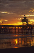 San Clemente Photo Framed Prints - San Clemente Lifeguard tower and pier at sunset Framed Print by Cliff Wassmann
