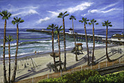 Train Tracks Painting Framed Prints - San Clemente Pier Framed Print by Lisa Reinhardt