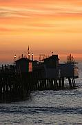 San Clemente Framed Prints - San Clemente Pier Sunset Framed Print by Brad Scott