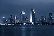Businesses Photo Framed Prints - San Diego at Night Framed Print by Paul Velgos