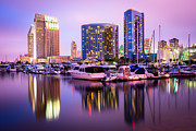 Condos Prints - San Diego at Night with Marina Yachts Print by Paul Velgos