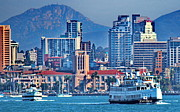 San Diego California Posters - San Diego Bay Ferrys Poster by Russ Harris