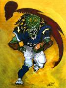 Predator Art Mixed Media Prints - San Diego Charge Football  Print by Christopher  Chouinard