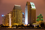 Dark Night Rises Prints - San Diego City at Night Print by Paul Velgos