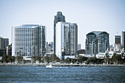 Condos Prints - San Diego Downtown Waterfront Buildings Print by Paul Velgos