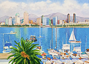 Skylines Paintings - San Diego Fantasy by Mary Helmreich