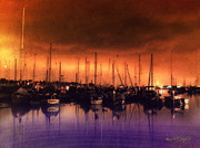 Photoshop Digital Art - San Diego Harbor Midnight Moon by Rhonda Strickland