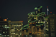 Night Scenes Framed Prints - San Diego High Rises Brightly Lit Framed Print by Karen Kasmauski