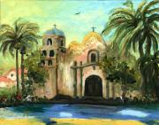 United States Paintings - San Diego Mission by Cecilia  Brendel