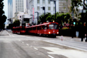 Red Buildings Digital Art Framed Prints - San Diego Red Trolley Framed Print by Linda Knorr Shafer