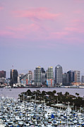 Workplace Photo Framed Prints - San Diego Skyline and Marina at Dusk Framed Print by Jeremy Woodhouse