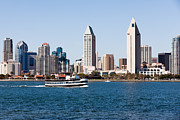 High Rises Posters - San Diego Skyline and Tour Boat Poster by Paul Velgos