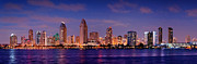 City Scene Photos - San Diego Skyline at Dusk by Jon Holiday