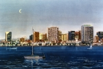 San Diego Paintings - San Diego Skyline at Dusk by Mary Helmreich