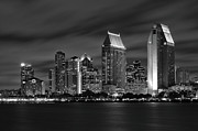 Larry Marshall - San Diego Skyline at Night  Black and White