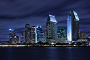 City Lights Photos - San Diego Skyline at Night by Larry Marshall
