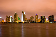 Businesses Posters - San Diego Skyline at Night Poster by Paul Velgos