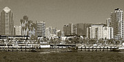 Nautical Framed Prints - San Diego Skyline In Sepia Framed Print by Ben and Raisa Gertsberg