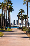 Diego Framed Prints - San Diego Skyline with Coronado Island Bayshore Bikeway Framed Print by Paul Velgos