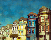 City Scapes Posters - San Fran Row Houses Poster by Sonja Quintero
