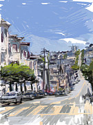 San Francisco Mixed Media Metal Prints - San Fran Summer Day Metal Print by Russell Pierce
