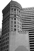 Hobart Art - San Francisco - Hobart Building on Market Street - 5D17870 - black and white by Wingsdomain Art and Photography