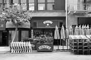 Outdoor Cafes Metal Prints - San Francisco - Maiden Lane - Mocca Cafe - 5D17788 - black and white Metal Print by Wingsdomain Art and Photography