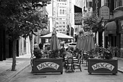 Cafe Umbrellas Posters - San Francisco - Maiden Lane - Outdoor Lunch at Mocca Cafe - 5D17932 - black and white Poster by Wingsdomain Art and Photography