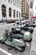 Motorcycle Posters - San Francisco - Scooters and Motorcycles Along Sansome Street - 5D17657 Poster by Wingsdomain Art and Photography