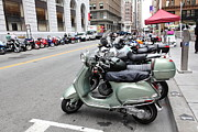 Street Market Prints - San Francisco - Scooters and Motorcycles Along Sansome Street - 5D17855 Print by Wingsdomain Art and Photography